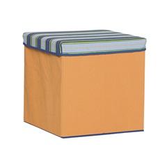 Caixa Organizadora Laranja com Tampa Listrada Azul em Poliéster - Homz