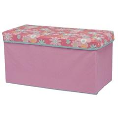 Caixa Organizadora Rosa com Tampa Floral Poliéster - Homz