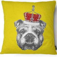 Capa para Almofada em Microfibra Pet Bulldog 43x43cm Amarela - Casanova