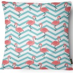 Capa para Almofada em Sarja Colors Flamingos 43x43cm Azul E Branca - Casanova