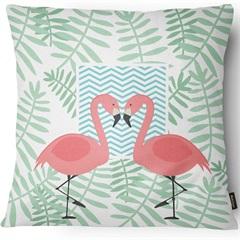 Capa para Almofada em Sarja Colors Flamingos 43x43cm Branca E Verde - Casanova