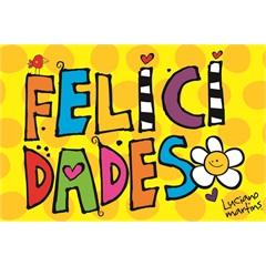 Capacho em Pvc Vinil Art Luciano Martins Felicidade 40x60cm Amarelo - Kapazi