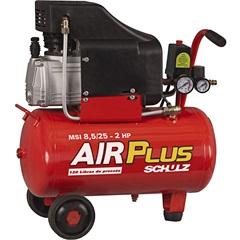 Compressor de Ar 110v Msi 8,5/25 Litros Air Plus Preto E Vermelho - Schulz