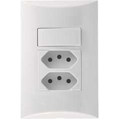Conjunto 1 Interruptor Simples E 2 Tomadas 2p+T com Placa 4x2 Brava Branco  - Iriel