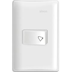 Conjunto 1 Pulsador de Campainha Horizontal 10a 200v Branco S19 - Simon