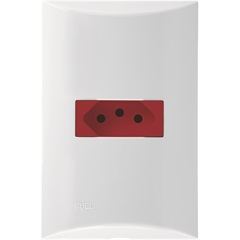 Conjunto 1 Tomada 20a Vermelha com Placa 4x2 Brava Branco - Iriel
