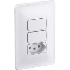 Conjunto 2 Interruptores Simples E Tomada 2p+T 10 a 4x2 Zeffia 250 V 680113  - Pial Legrand
