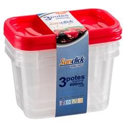 Conjunto com 3 Potes Retangular 600ml  - Plásticos Santana