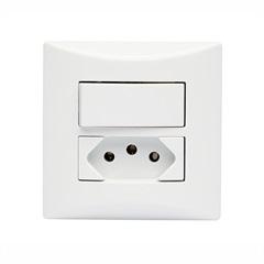Conjunto de 1 Interruptor Simples E 1 Tomada 2 Polos + Terra Brava Branco - Iriel