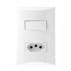 Conjunto de 1 Interruptor Simples E 1tomada 10 a 4x2 Brava 559611 - Iriel
