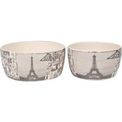 Conjunto de Cachepot em Cerâmica Redondo Paris com 2 Peças Branco E Preto - BTC