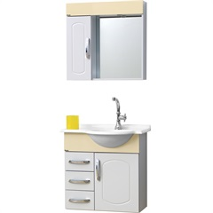 Conjunto de Gabinete E Espelho Aspen  64 Cm Branco E Bege - Bonatto