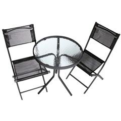 Conjunto de Jardim com Mesa E 2 Cadeiras Preto E Transparente  - Importado