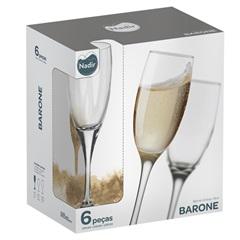 Conjunto de Taças para Champanhe Barone 190ml com 6 Peças  - Nadir