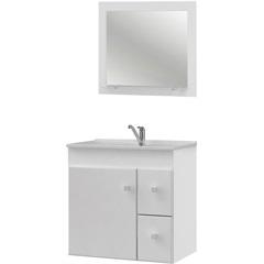 Conjunto Gabinete E Espelheira em Mdf com Tampo Vitória Branco - MGM Móveis