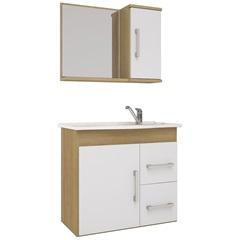 Conjunto Gabinete E Espelheira em Mdf com Tampo Vix Branco E Nogal - MGM Móveis