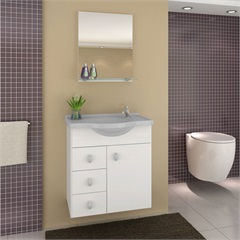 Conjunto para Banheiro Astro com Tampo E Espelho  50cm Cinza - Darabas
