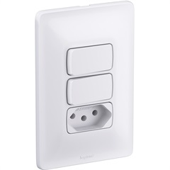 Dois Interruptores Simples Mais Tomada Elétrica Zeffia 680113 4x2 10 Ampéres 250v  - Pial Legrand