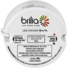 Driver para Lâmpada Led Ip20 12w/1a Bivolt Intelligent - Brilia