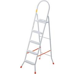 Escada Doméstica em Aço com 5 Degraus Branca