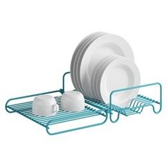 Escorredor de Loucas Horizontal Articulado para 16 Pratos Fixaclick Azul - Domo House