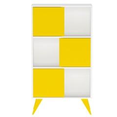 Estante Retrô com 3 Divisões Amarelo E Branco - Multivisão