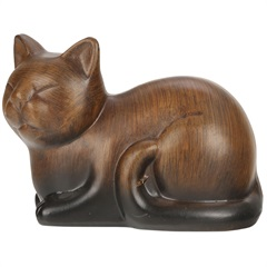 Estátua de Cerâmica Gato Marrom 17 X 10 X 12 Cm - Toyland