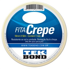 Fita Crepe 18mm  com 50 Metros  - Tekbond