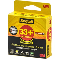 Fita Isolante 33+ 19mm com 10m Preta - Scotch