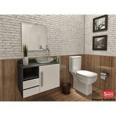 Gabinete Acrux para Banheiro com Cuba em Resina E Espelho 50x50cm  - VTEC