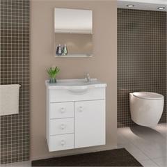 Gabinete Astro Branco 50 Cm para Banheiro com Tampo E Espelho  - Darabas