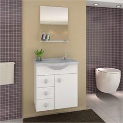Gabinete Astro Cinza 50 Cm para Banheiro com Tampo E Espelho  - Darabas