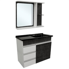Gabinete com Espelheira E Lavatório Turim Cromo 64,5x50cm - Irmãos Corso