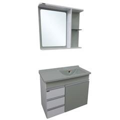 Gabinete com Espelheira E Lavatório Turim Verde 64,5x50cm - Irmãos Corso