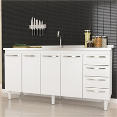 Gabinete de Aço para Pia 1,80m Quality Branco  - Cozimax