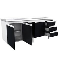 Gabinete de Cozinha para Pia de 2,00 Metros Preto - Bonatto