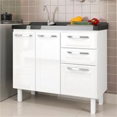 Gabinete em Aço para Cozinha Orfeu Branco com Pia Preta Granilada 100 Cm - Cozimax