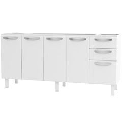 Gabinete em Aço para Pia de 180cm Novo Apolo Branco - Cozimax