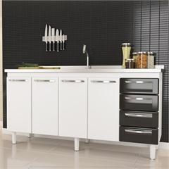 Gabinete em Aço para Pia de 180cm Quality Preto  - Cozimax