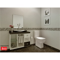 Gabinete Orion para Banheiro com Cuba Resina E Espelho 50x60 Bisotado - VTEC