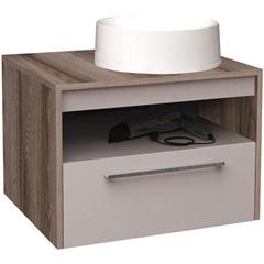 Gabinete para Banheiro em Mdf com Cuba Alfazema 60cm Nude E Tamarindo - Cozimax