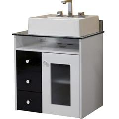 Gabinete para Banheiro em Mdf com Tampo de Vidro Havana 60cm Branco E Preto - Bonatto