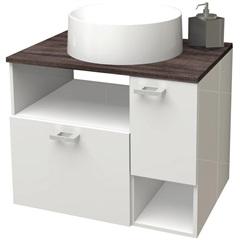 Gabinete para Banheiro em Mdf Iara 59,5cm Branco E Dakota - Cozimax