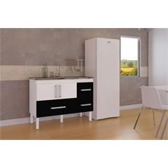 Gabinete para Cozinha em Mdf com Gavetão Bari 114cm Branco E Preto - MGM Móveis