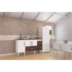 Gabinete para Cozinha em Mdf com Gavetão Bari 144cm Castanho - MGM Móveis