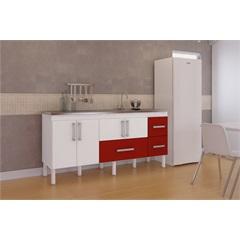 Gabinete para Cozinha em Mdf com Gavetão Bari 174cm Branco E Vermelho - MGM Móveis
