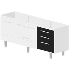 Gabinete para Cozinha em Mdf Life 200cm Branco E Preto - Bonatto