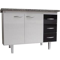 Gabinete para Cozinha em Mdf Milano 120cm Branco E Preto - Bonatto