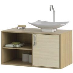 Gabinete Suspenso para Banheiro com Cuba Lisboa 80cm Acácia E Nogueira - MGM Móveis