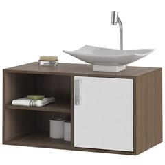 Gabinete Suspenso para Banheiro com Cuba Lisboa 80cm Branco E Castanho - MGM Móveis